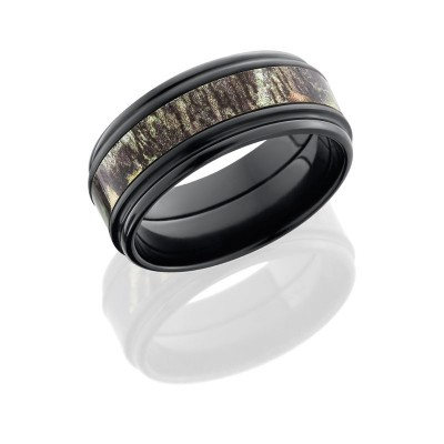 Lashbrook Zirconium 9mm Flat Band With Rounded Edges And 4mm Mossyoak Camo ZCAMO9REF14/MOSSYOAK