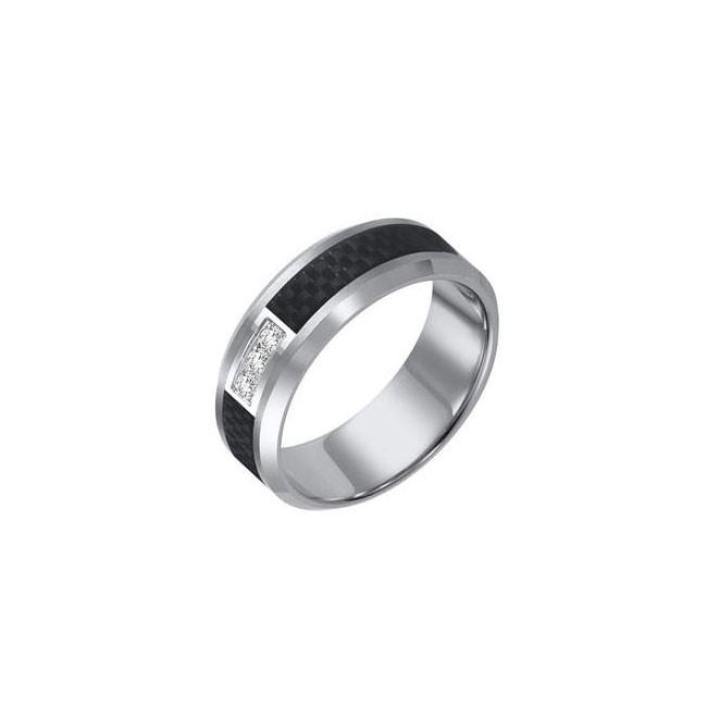 Triton 8mm Tungsten Carbide Bevel Edge Comfort Fit Diamond Band 22-2940