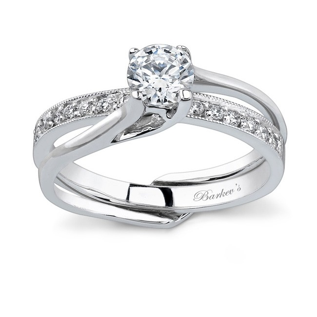 White Gold Diamond Engagement Ring Set   7243SW