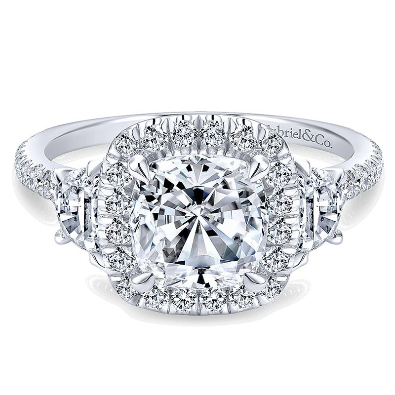 14K White Gold 3 Stone Diamond Cushion Cut Halo 14K White Gold Engagement Ring ER9189W44Jj