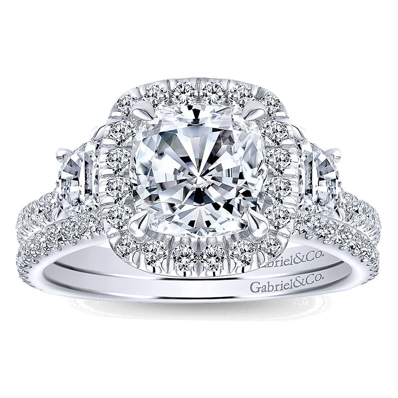 0a1f8b3f712 14K White Gold 3 Stone Diamond Cushion Cut Halo 14K White Gold Engagement  Ring ER9189W44Jj