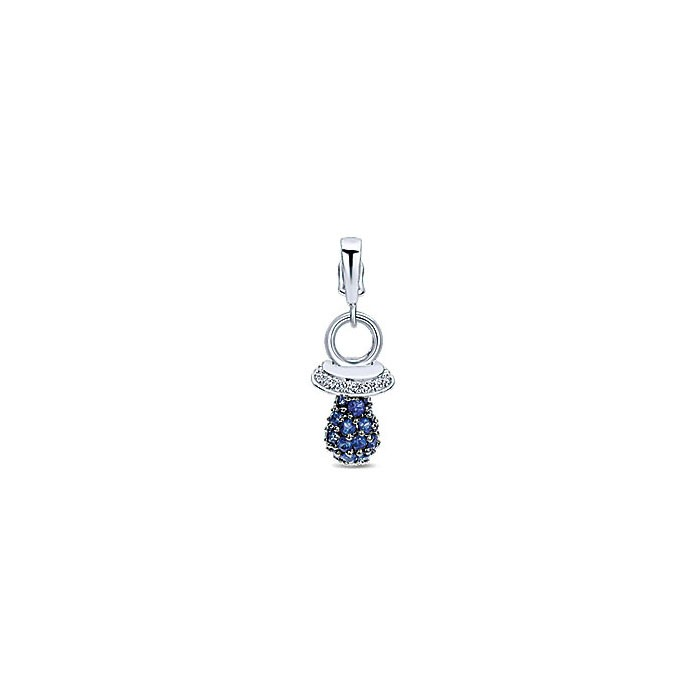 14k White Gold Diamond And Sapphire Charm Pendant
