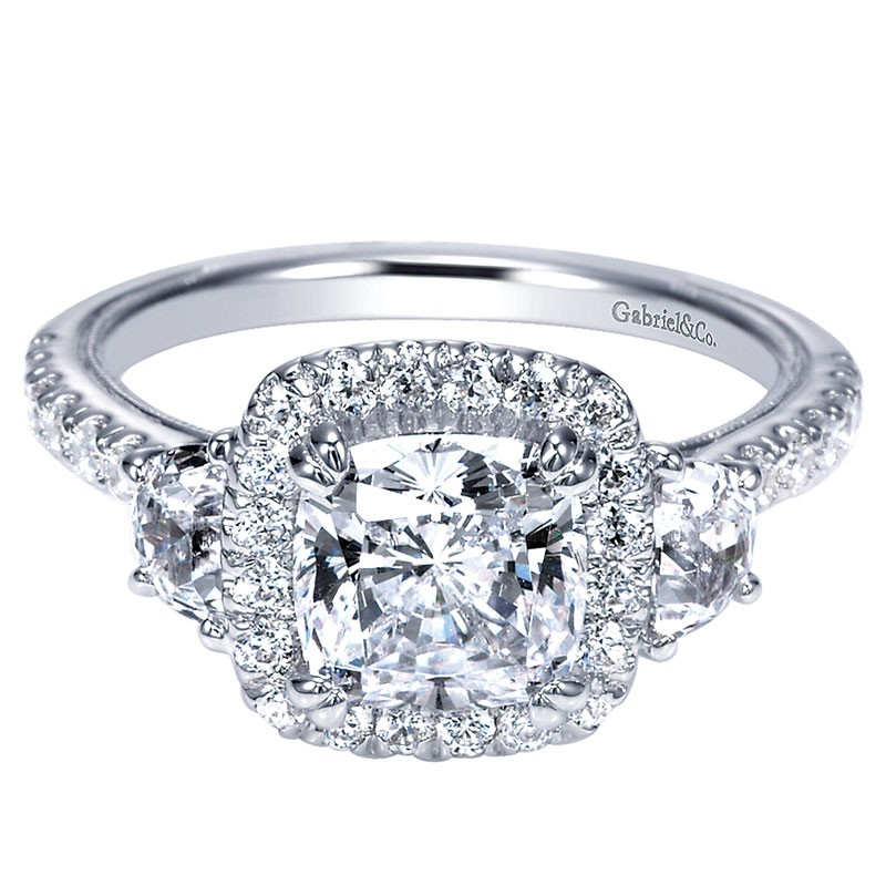a63ea2d91c524 Engagement Ring 14k White Gold Diamond 3 Stones Halo