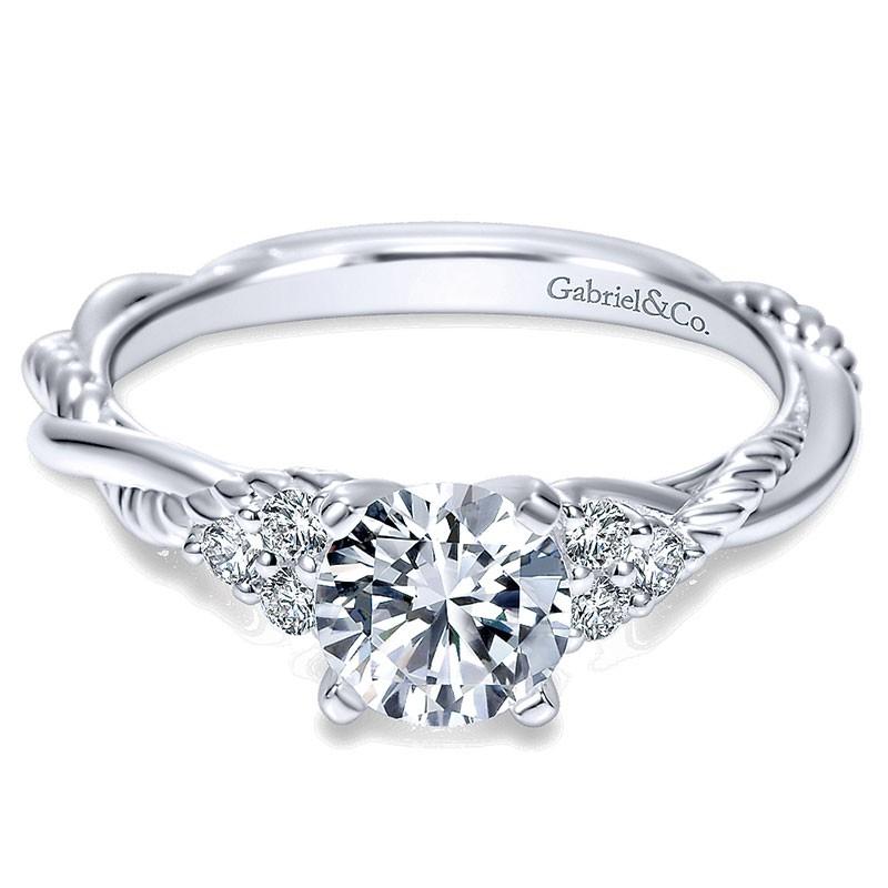14k White Gold Diamond Criss Cross Riata 14k White Gold Engagement
