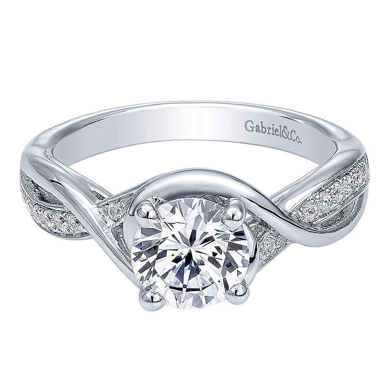 14k White Gold Diamond Criss Cross Round 14k White Gold Engagement