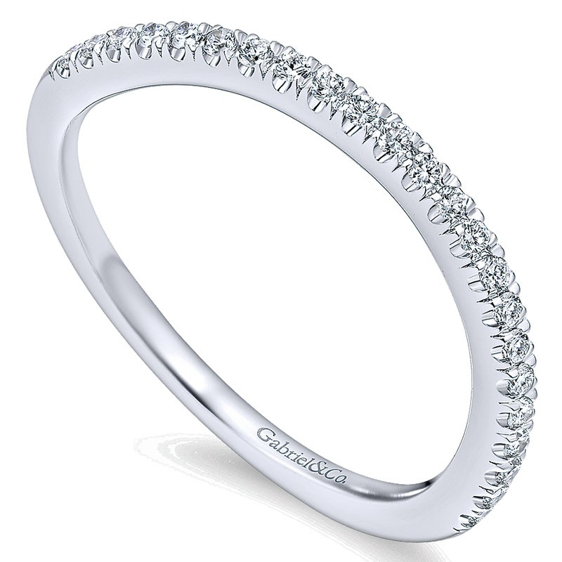 Wedding Band 14k White Gold Diamond Curved All Wedding Bands