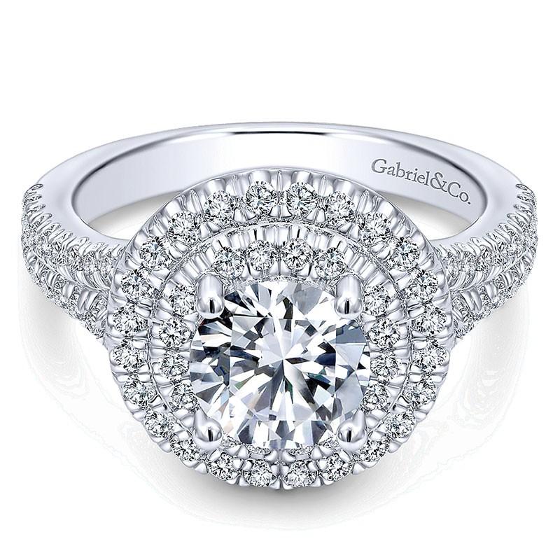 Engagement Ring 14k White Gold Diamond Double Halo Diamond Wedding