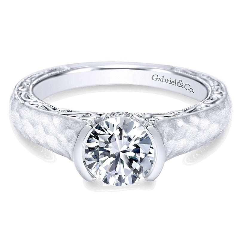 14K White Gold Diamond Filgree Solitaire With Hammered Shank 14K White Gold Engagement Ring ER9058W4