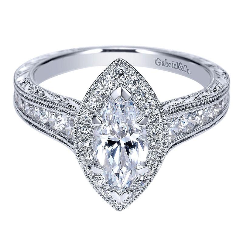 14K White Gold Diamond Halo 14K White Gold Engagement Ring ER8812W44Jj 4c9cd3db1046
