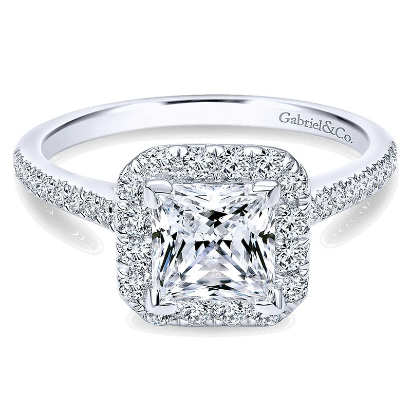 14k White Gold Diamond Princess Cut Halo With French Pave Shank Engagement Ring Er726