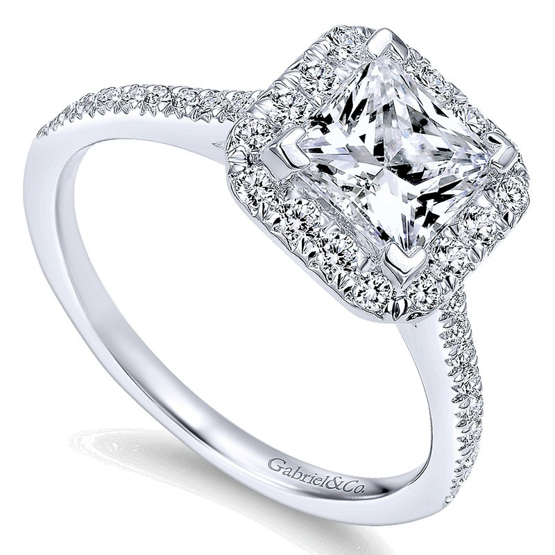14k White Gold Diamond Princess Cut Halo With French Pave Shank 14k