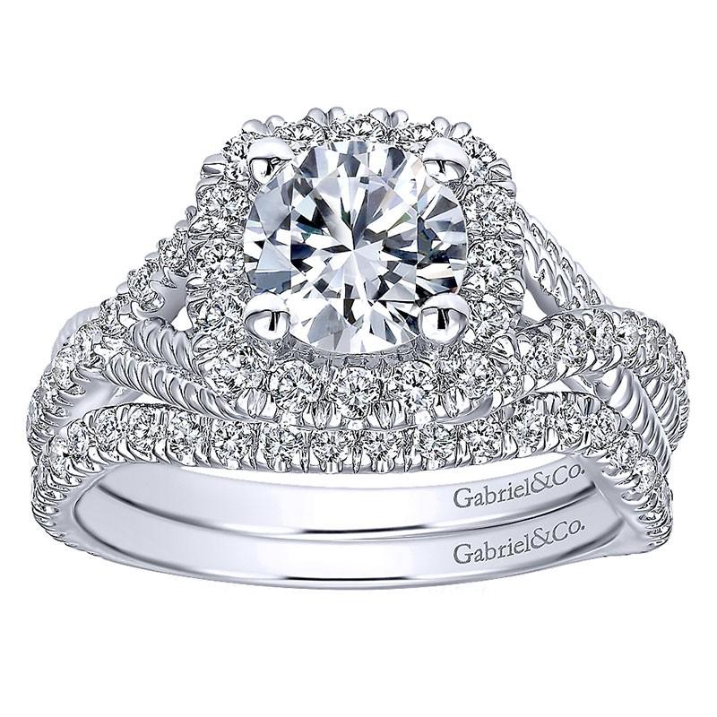 14k White Gold Diamond Riata And Pave Twist Halo 14k White Gold Engagement Ring Er10060w44jj All Engagement Rings Engagement
