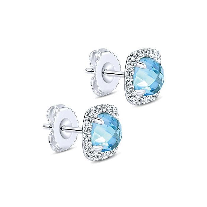 f9f054c27d216 14k White Gold Diamond Swiss Blue Topaz Stud Earrings