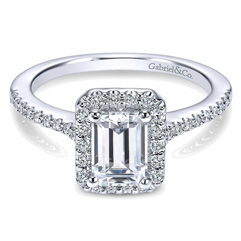 3a89fc3bc3c90 14K White Gold Emerald Cut Diamond Halo With Pave Shank 14K White Gold  Engagement Ring ER5822W44Jj