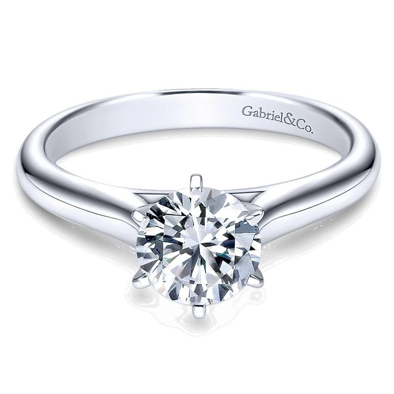 14k White Gold European Shank Solitaire 14k White Gold Engagement Ring Er6623w4jjj Solitaire Engagement Rings Engagement