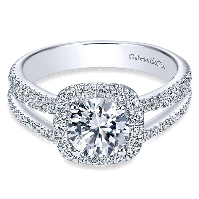 c4393700395fb 14K White Gold Round Diamond Halo Pave Split Shank 14K White Gold  Engagement Ring ER7786W44Jj