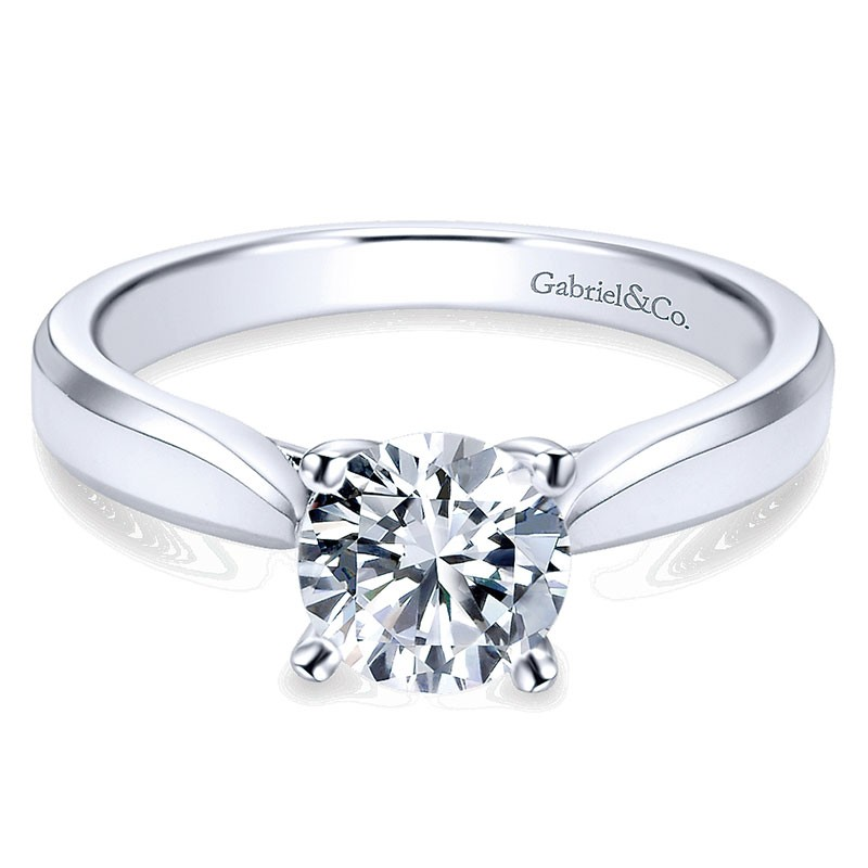 72ef60333e47b 14K White Gold Round Solitaire With Trellis Setting 14K White Gold  Engagement Ring ER6591W4Jjj