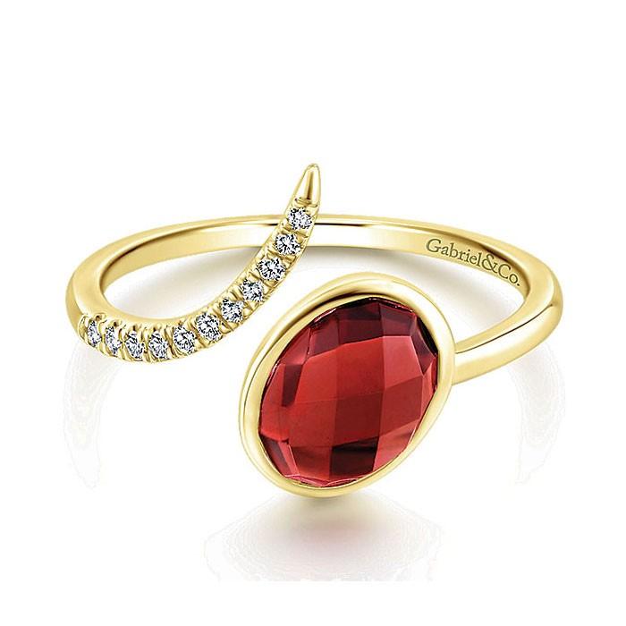 14k Yellow Gold Diamond Garnet Fashion Ladies' Ring