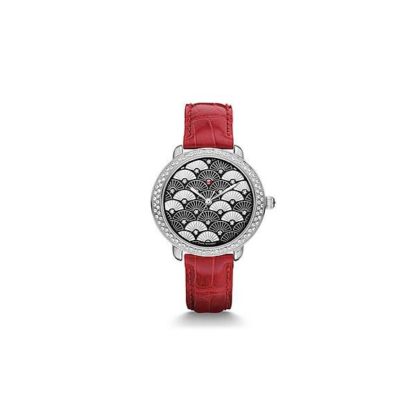 Serein 16 Diamond, Black Fan Diamond Dial Garnet Alligator Watch
