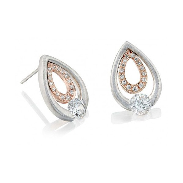 Gelin Abaci 14k White and Rose Gold Diamond Earring TE-018