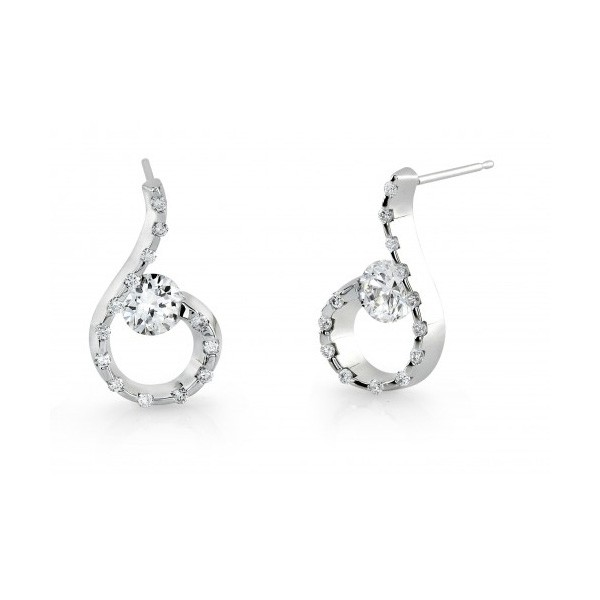 Gelin Abaci 14k White Gold Diamond Earring TE-020