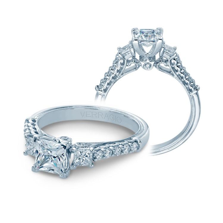 Verragio Prong Set Three Stone Diamond Engagement Ring