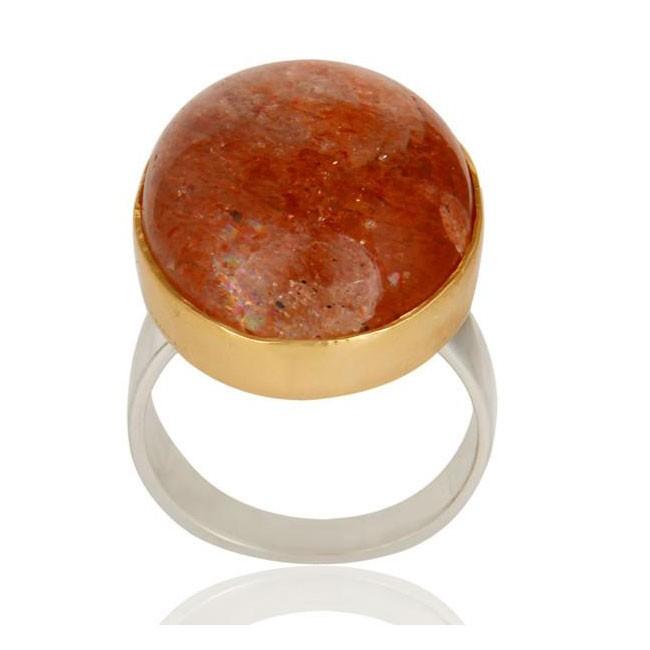 Oregon Sunstone Ring In Silver + Gold