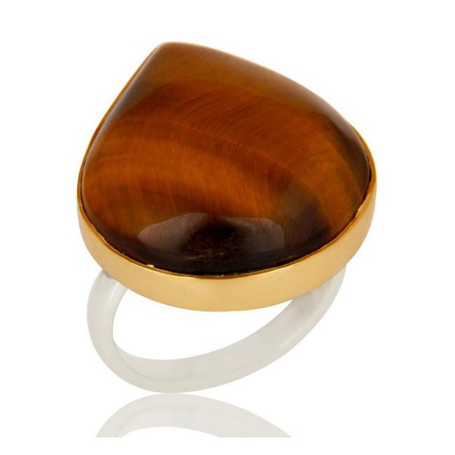 Natural Tiger'S Eye Ring In Mixed Metal