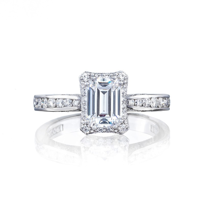 Tacori Dantela Collection Clean Mirror Finish Emerald Cut Ring 2646 25ec7x5 All Engagement Rings Engagement