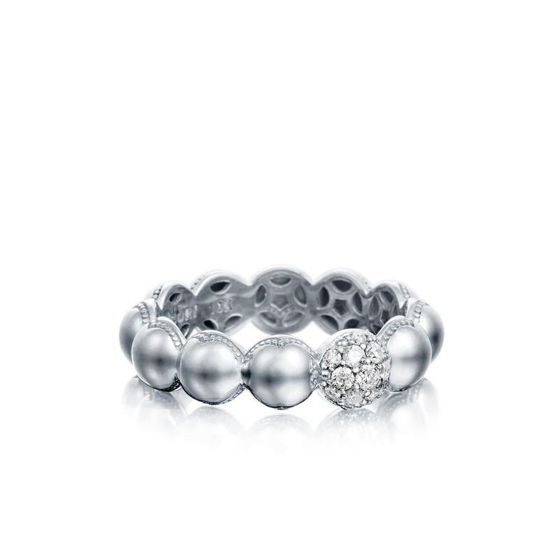 Tacori Sonoma Mist Silver Beaded Pave Dew Drop Ring