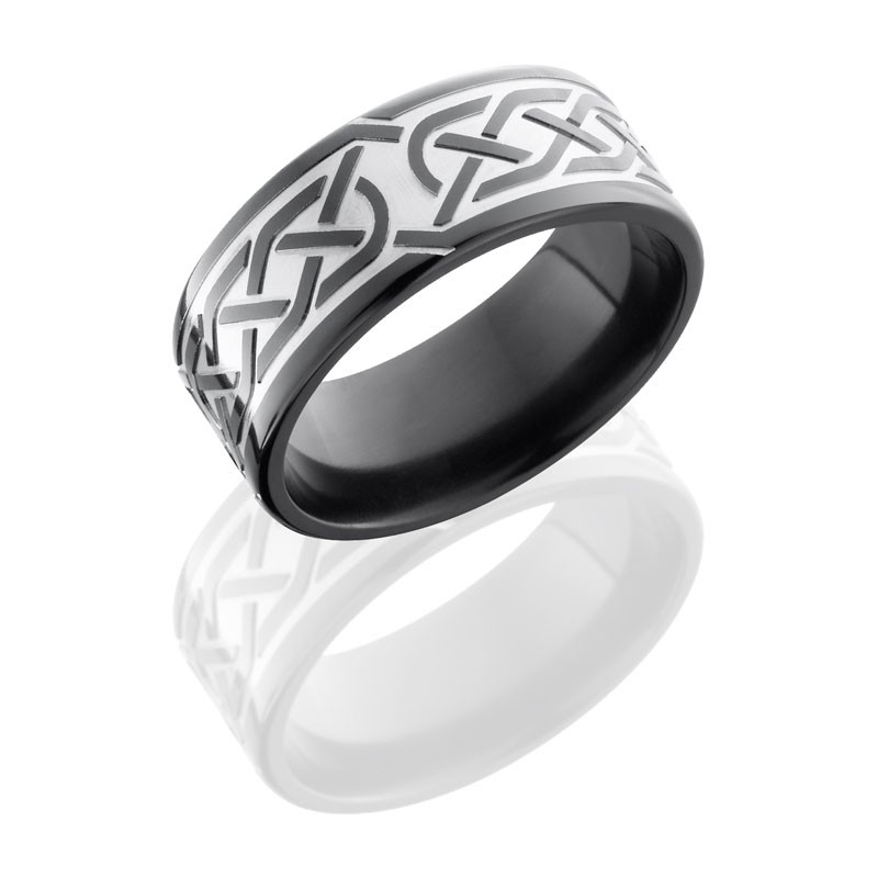 Lashbrook Zirconium 9mm Flat Band With Celtic Pattern Z9F/CELTIC5