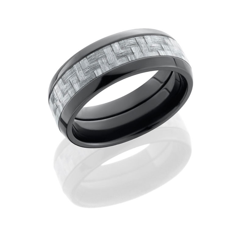 Lashbrook Zirconium 8mm Domed Band With 4mm Silver Carbon Fiber Inlay ZC8D14/SILVERCF