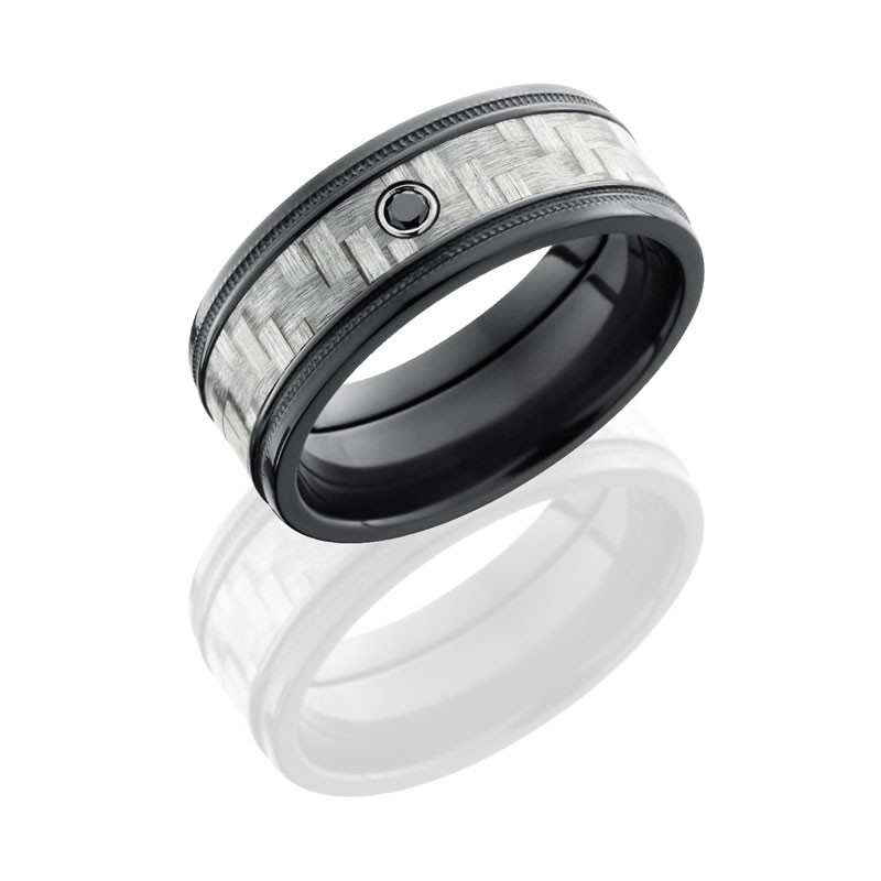 Lashbrook Zirconium 9mm Flat Band With 5mm Of Silver Carbon Fiber, Grooved Edges And Bezel-Set .05 B