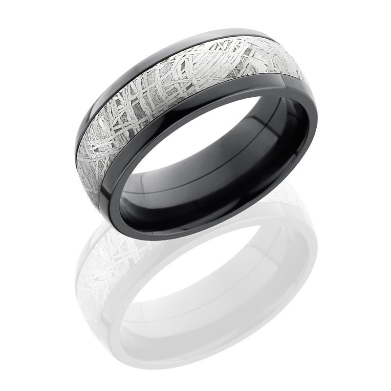 Lashbrook Zirconium 8mm Domed Band With 4mm Damascus ZPF8D14/DAMASCUS