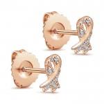 14k Pink Gold Diamond Stud Earrings