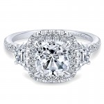 14K White Gold 3 Stone Diamond Cushion Cut Halo 14K White Gold Engagement Ring ER9189W44Jj