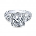 14K White Gold Channel ANd Hand Cut Etched Round Halo Diamond 14K White Gold Engagement Ring ER10191
