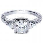 14K White Gold Diamond 3 Stones 14K White Gold Engagement Ring ER8865W44Jj
