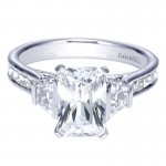 Engagement Ring 14k White Gold Diamond 3 Stones