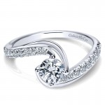 Engagement Ring 14k White Gold Diamond Bypass