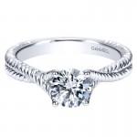 Engagement Ring 14k White Gold Diamond Criss Cross
