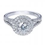 Engagement Ring 14k White Gold Diamond Double Halo