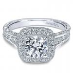 14K White Gold Diamond Halo Channel ANd Milgrain 14K White Gold Engagement Ring ER8794W44Jj