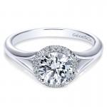 14K White Gold Diamond Halo 14K White Gold Engagement Ring ER7808W44Jj