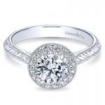 14K White Gold Diamond Halo 14K White Gold Engagement Ring ER8709W44Jj