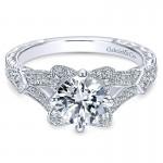 14K White Gold Diamond Halo 14K White Gold Engagement Ring ER8790W44Jj