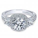 14K White Gold Diamond Halo 14K White Gold Engagement Ring ER8918W44Jj