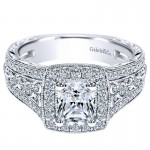 14K White Gold Diamond Halo 14K White Gold Engagement Ring ER9041W44Jj
