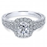 14K White Gold Diamond Halo 14K White Gold Engagement Ring ER9074W44Jj
