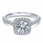 14K White Gold Diamond Halo ANd French Pave Shank 14K White Gold Engagement Ring ER8152W44Jj